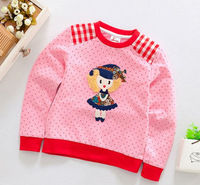 new 2014 winter autumn children girl pink red white cartoon crewneck casual sweatshirt coat kids fashion outerwear christmas