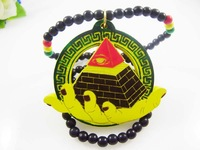 4H581 Min order7usd natual wood hiphop necklace pyramid colorful Newest styles Allah wood necklaces custom wood pendant necklace