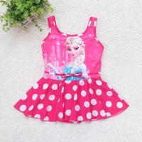 Free Shipping 2014 Frozen Swim Children Girls Frozen Swimsuit Elsa Bikini Wear One Piece Swim Wear Bodysuit Frozen Clothing D406