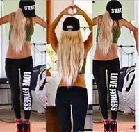 2014 Fashion Women's Boy Leggings Love Fitness Just Do it work out gun leggings Ladies Girls sport pants