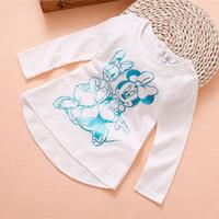 baby girl 2014 autumn winter fashion minnie cartoon print long sleeve cotton t shirt top kids girl casual lace collar clothes