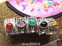 R033  Tibetan Silver Inlaid Colorful Beads Rings,Tibet Antiqued Vintage open rings,Mix Wholesale Tibetan Handmade Ring