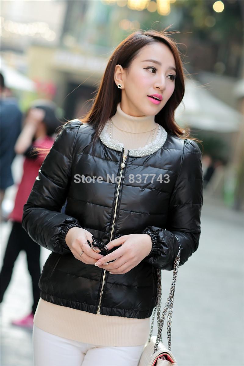Winter Coat Sale Hot Sale Zipper Duck Down Free Shipping 2014 Winter Round Neck Jacket Korean Female Paragraph Coat CM-DJ0025(China (Mainland))