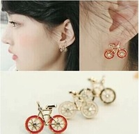 Simulated diamond bicycle earrings Lovely black red white women Brand new Xmas gift 24pair/lot