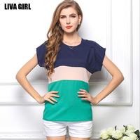 Sale Blusas Femininas 2014 Summer Autumn Women Clothes NEW Fashion Casual Big Size Chiffon Striped T Shirts Women's TOPS Blouses