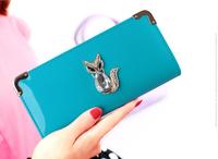 women wallets 2014 new Women's ClutchSmall gold diamond fox  Wallet female   bolsas femininas purse