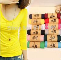 Women Slim Stretch Modal bottoming shirt long sleeve t-shirt free shipping