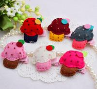 40pcs/lot Baby  Mini Felt Cupcake hair clip