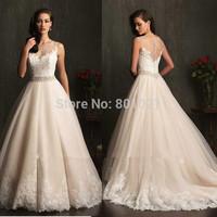 Ball Gown Lace Bride Dress With Sash Sexy Vintage 2015 champagne colored wedding dresses Vestidos De Novia
