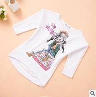new 2014 winter autumn children girl cartoon letter print short front long back casual t shirt kids cotton long sleeve t shirts