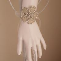 Handmade Inspired Floral Clear Rhinestone Bridal Bracelet Rhinestone Lace Cuff Bracelet Victorian Style Lace Wedding Bracelet