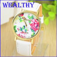 2015 New Fashion GENEVA Rose Flower Watches Women Dress Watch stylish women casual watch Quartz Watches orologio da polso