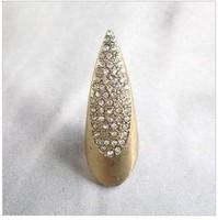 Fashion trend vintage style rhinestone nail finger ring J05