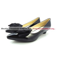 Fashion Bowtie Women Pumps 35mm Wedges Smooth Fashion Pointed Toe High Heels PU Leather Black/Apricot Color Sexy Women Shoes