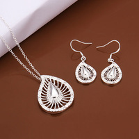 New Fashion Wholesale women's 925 Sterling Silver jewelry sets flower necklace+earrings jewelry best gift Free Shipping S473