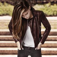 New arrival fashion sheepskin motorcycle clothing female vintage pleated natural leather jacket slim all match jacket