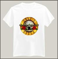 GUN N ROSE Print Tshirt For Men Women Short Sleeve Cotton Casual White Shirt Top Tee S-XXXL Big Size ZY125-691