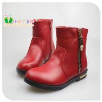 New Arrival Free Shipping Girl's Autumn New Single Boots Female Child Medium-leg Genuine Leather Fashion Shoes 26-36