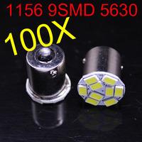 2014 new style 100 pcs 1156 P21W 5630 LED 9 SMD R10W turn signal steering lamp reversing back up light white blue