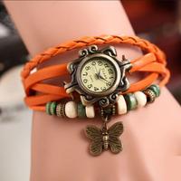 1PCS Free Shipping Leather Vintage Watches Bracelet Wristwatches Butterfly Pendant Color Random