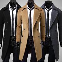Man Autumn trench coat men 2014 new fashion long coat suit men wool coat men Overcoat Outerwear casaco masculino