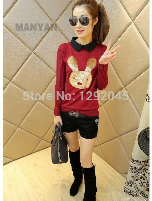 1460 # 2014 spring models ladies lapel sweater Korean fashion wholesale Cartoon long-sleeved sweater shirt(China (Mainland))