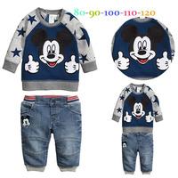 2014 new arrive baby boys sweater+jeans 2 pcs set suit children clothes set boys weat cotton children clothing set 5sets/lot