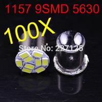 2014 new style 100 pcs 1157 P21W 5630 LED 9 SMD R10W turn signal steering lamp reversing back up light white blue