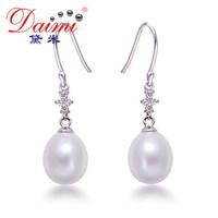 10-11mm Women White Water Drop Freshwater Pearl Dangle Earrings Fish Hook Sterling Silver 925