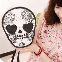 Small bags 2014 female mini-package punk skull print coin purse women's handbag messenger bag