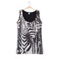 3XL-5XL Plus Size Novelty Casual Women Ladies Zebra Sequined Vest Tank Top Big Large XXXL XXXXL XXXXXL 2014 New Fashion Summer