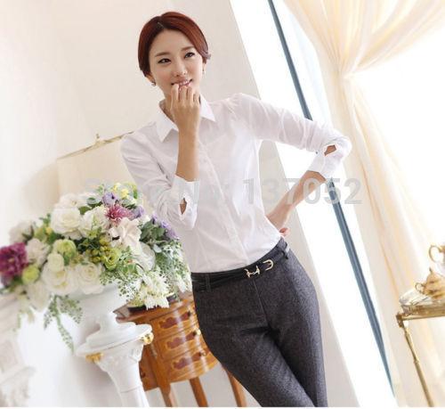 Белый рубашка женщины рабочий длинный рукав топы приталенный женщины в блузы рубашки большой sie S-4XL