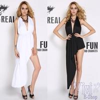 New Design Sexy Deep V-Neck Irregular Novelty Dress Women 2014 Fashion Chiffon Backless Party Club Dresses Black White Vestidos