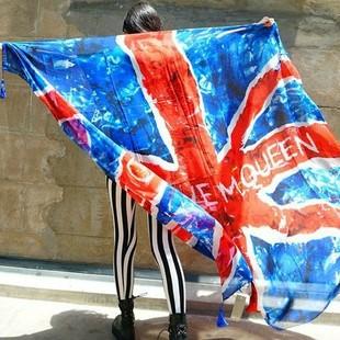 The European and American Aaron tassel oversized scarf long scarves beach sunscreen wind union jack flag shawl female tide()