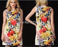 Ol atmosphere contracted sleeveless dress, flower printing high-grade dress, European new women dresses