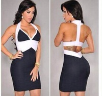 Black and white halter v neck sexy elastic knitted 2014 new fashion ladies bodycon hl bandage dress