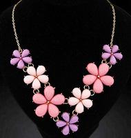 Fashion Women's Jewelry Sweet Flowers Ocean Style Bib Statement Collar Chain Necklace Necklaces Pendants