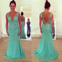 Beautiful Chiffon V-neckline Sleeveless Mermaid Long Lace Women Evening Dress Gown 2014