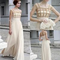 A-line Scoop Rhinestone Floor-length Chiffon Long Formal Evening Prom Dresses Gown 2014