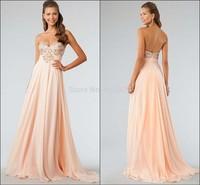 A-Line Sleeveless Ruffles Sweetheart Open Back Beaded Chiffon Long Evening Dress Formal Prom Party Dress 2014