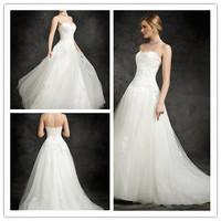 Fantastic Flowing Tulle A-line Floor length Chapel train Corset Back Sweetheart Lace Appliques Wedding Dress Bridal Gowns