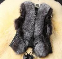 2014 Women Lady Fur Coats Fashion Fox Fur Outerwear Silver Fox Fur Vests Faux Fur Waistcoats[240381]