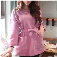 2014 Autumn Winter New Arrival Korean Style Cotton Warm Long Sleeve Pullover  Loose Sweatshirt Women Casual Wear Hoody Plus Size