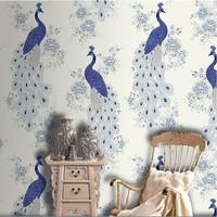 Classic Blue Peacock Mural Wallpaper Decorative Wall bedroom DZK105 papel de parede 3d