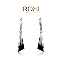 high quanlity ROXI earrings black acrylic film platinum plated drop earrings for women office lady earring 2020002275b-8