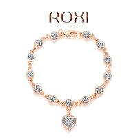 2014 ROXI design Bracelets Genuine Austrian Crystals rose gold plated fashion rhinestone Heart bracelet women birthday gift