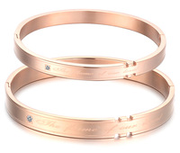 Korean version wholesale new style fashion Rose gold Titanium steel couples bracelets bangles free shipping black