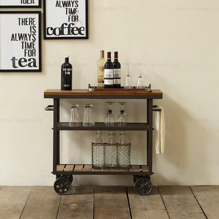 American Iron Wood Drinks Trolley Diner Fashion Creative