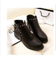 2014 spring and autumn boots European and American style retro British rivet flat shoes flat shoes boots