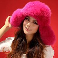 2014 Winter, 100% Genuine Fox Fur Cap, Real Natural Knitted Fox Fur Hat For Ladies Women 5 Colors